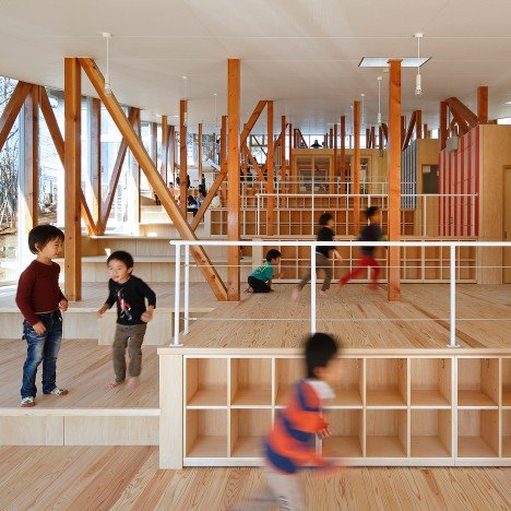Yamazaki Kentaro Design Workshop's kindergarten is designed as a large set of steps
