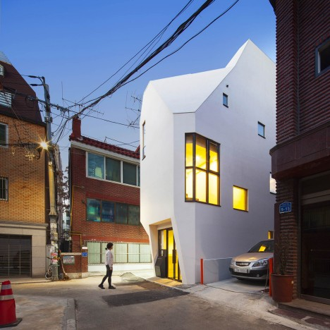 ThePlus Architects builds narrow office block for a South Korean book publisher