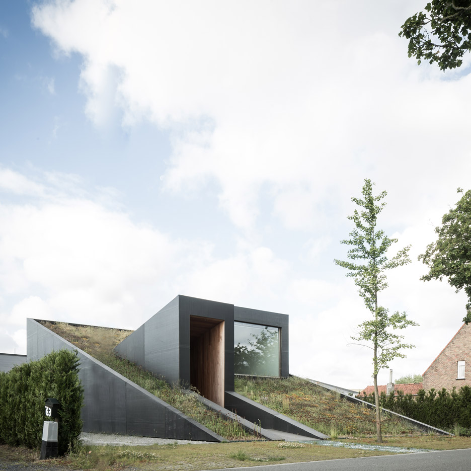 OYO's House Pibo Features A Sloping Green Roof And Split