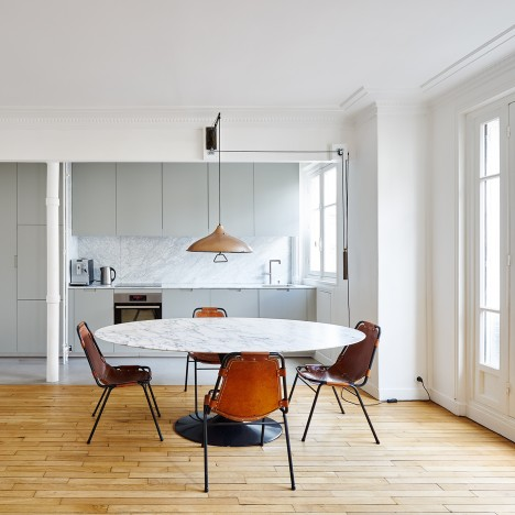 Septembre adds a variety of floor finishes to renovated Parisian apartment
