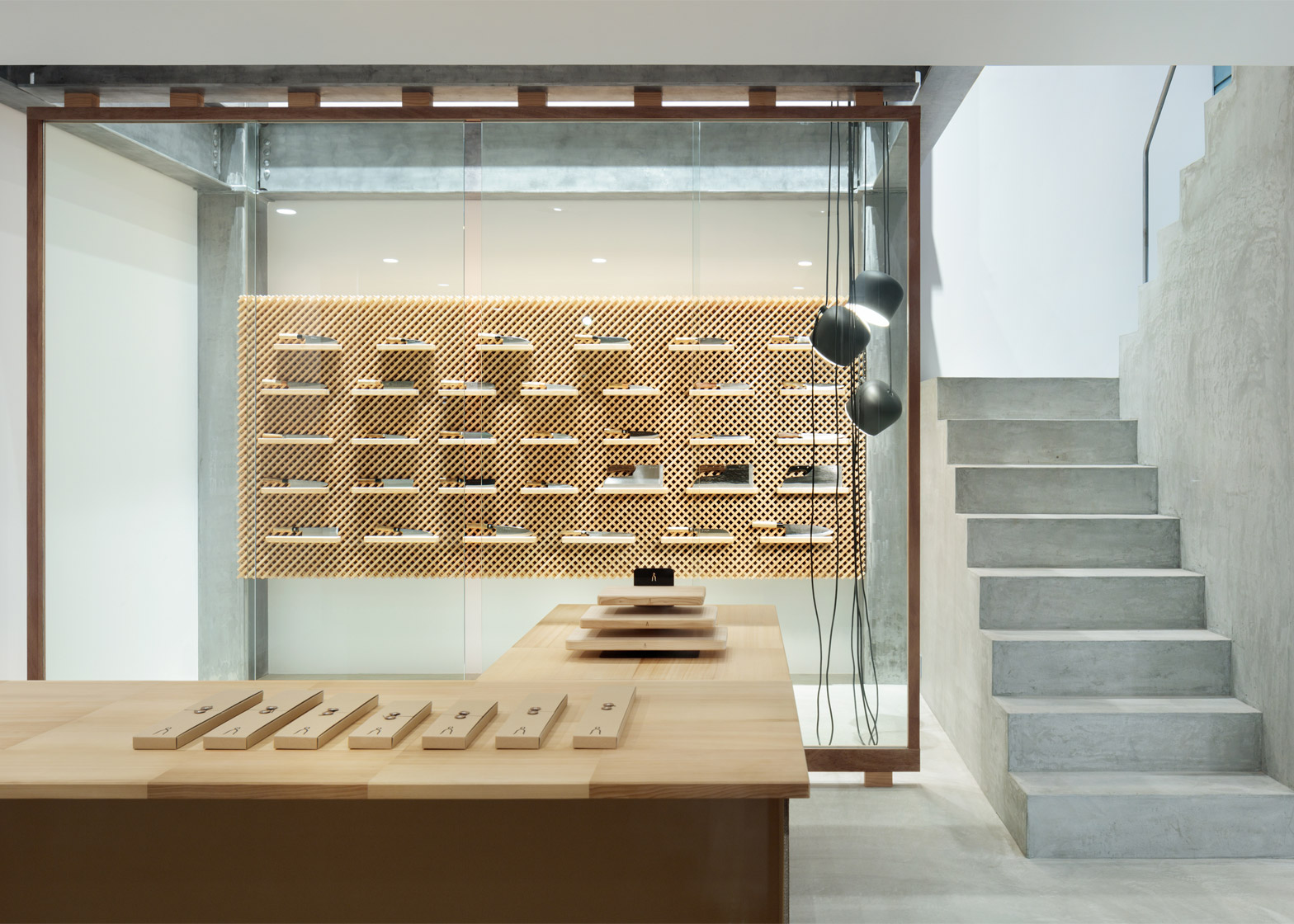 Japanese traditional Blacksmithing knife factory showroom by Yusuke Seki Design Studio