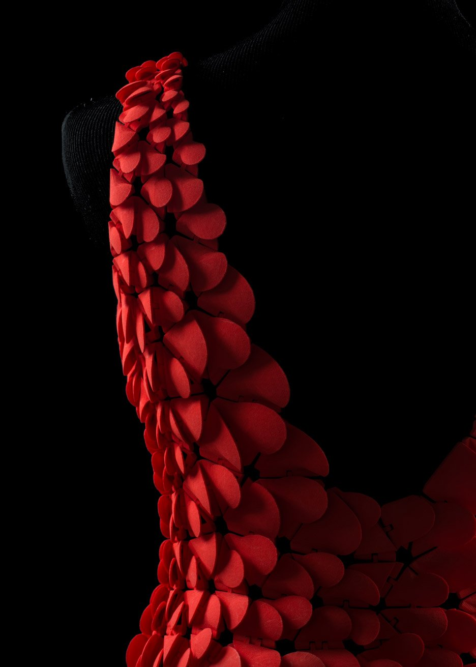 Kinematic Petal Dress by Nervous System designed for the Museum of Fine Arts Boston exhibition