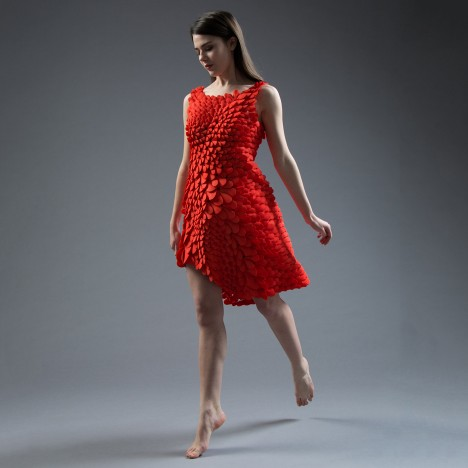 "Nervous System creates ""4D-printed"" dress made of nylon petals and scales"