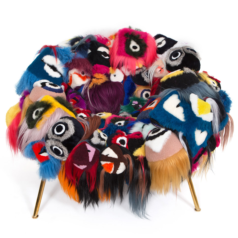 The Armchair of Thousand Eyes. Courtesy of Fendi Manufatura new work exhibition by Brazilian designers and brothers Humberto and Fernando Campana in Paris, France
