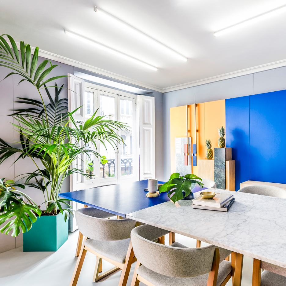 Masquespacio designs colourful interior and branding for its own Valencia studio
