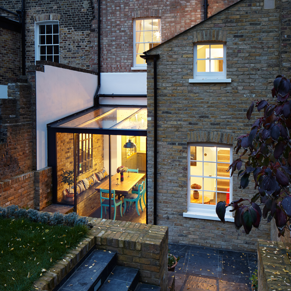 H t adds jewel like glass extension to east london house for House extension interior designs