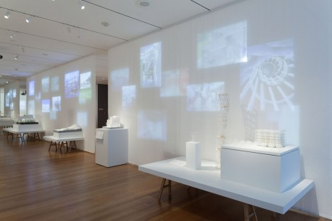 Installation shot of the A Japanese Constellation: Toyo Ito, SANAA, and Beyond exhibition