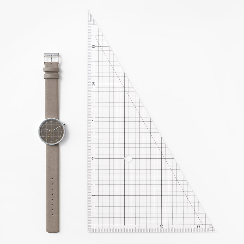 Nendo Draftsman 03 Grid watch is based on drawing paper