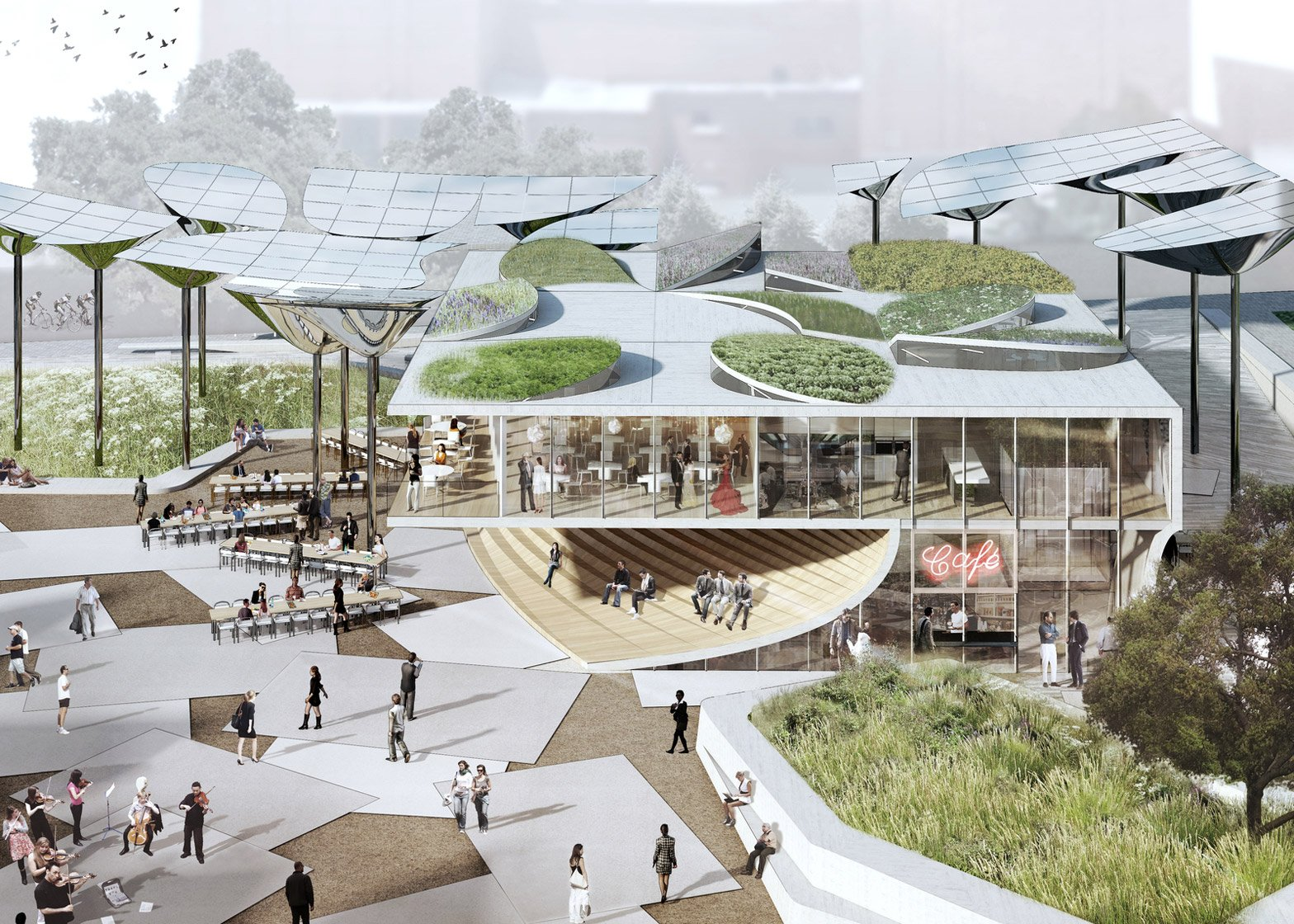 FAB Civic Center park proposal  by OMA, Mia Lehrer + Associates and IDEO