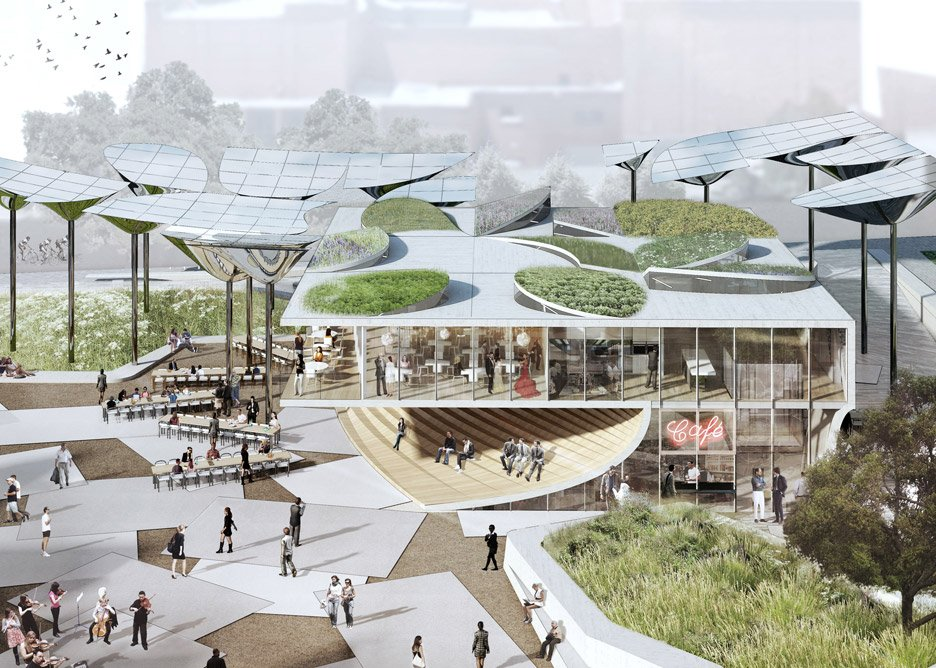 Fab Civic Center proposal in Los Angeles, USA by Mia Lehrer, OMA and IDEO