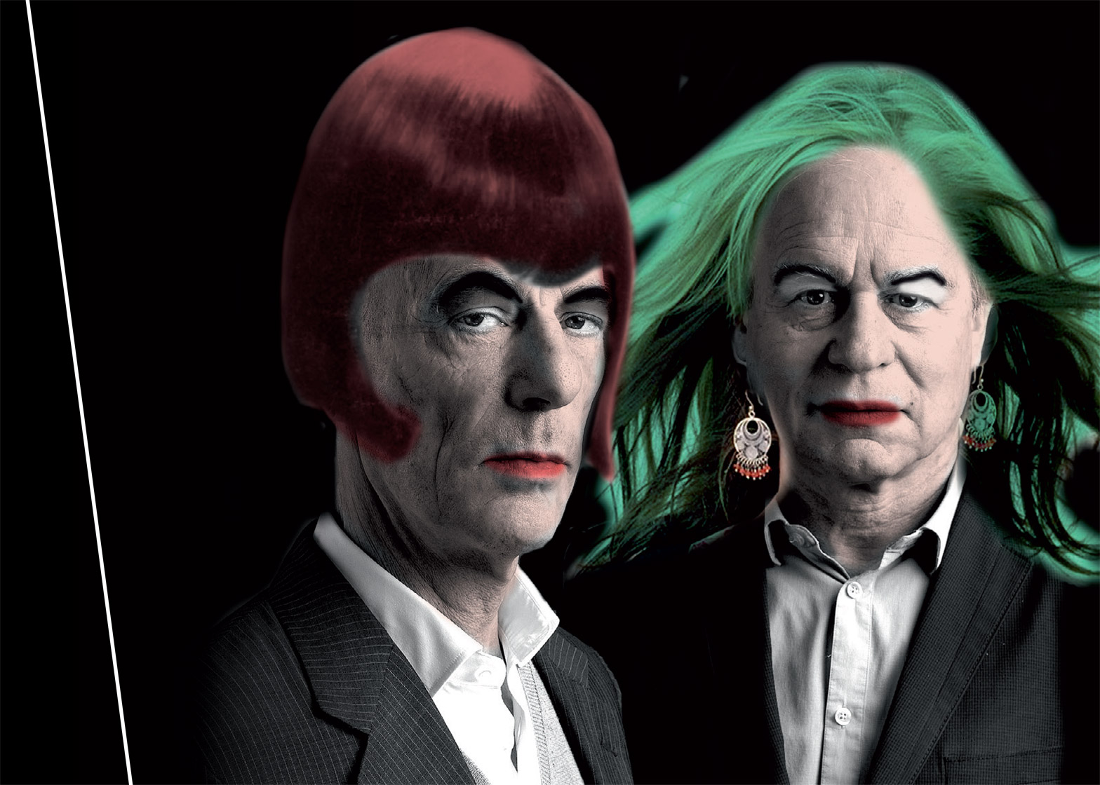 Herzog and de Meuron sport colourful wigs and lipstick to promote a series of talks about gender inequality in architecture