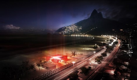 Beach pavilion in Rio de Janeiro for Olympics 2016 by Henning Larsen