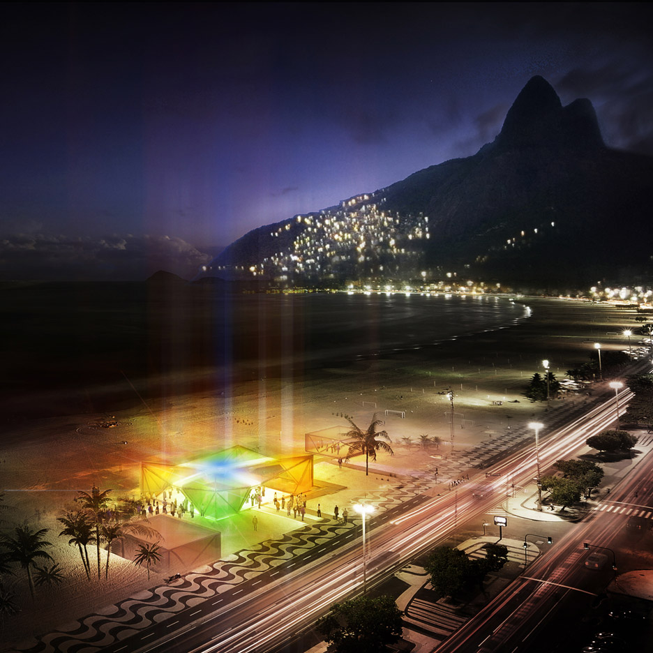 Beach pavilion in Rio de Janeiro for Olympics 2016 by Henning Larsen