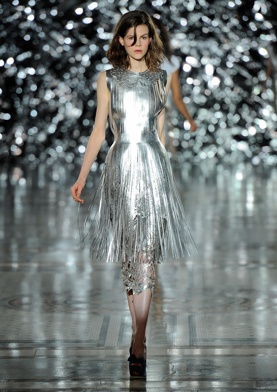 Metallic Leather Fringe Dress by Giles Deacon, 2012