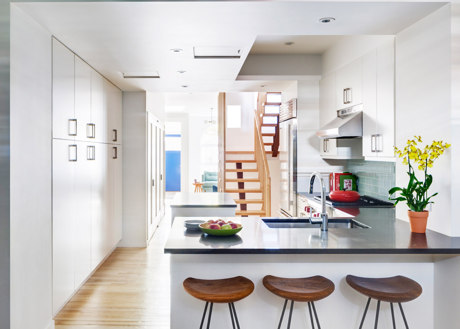 barker freeman overhuals narrow brooklyn row house for a family of
