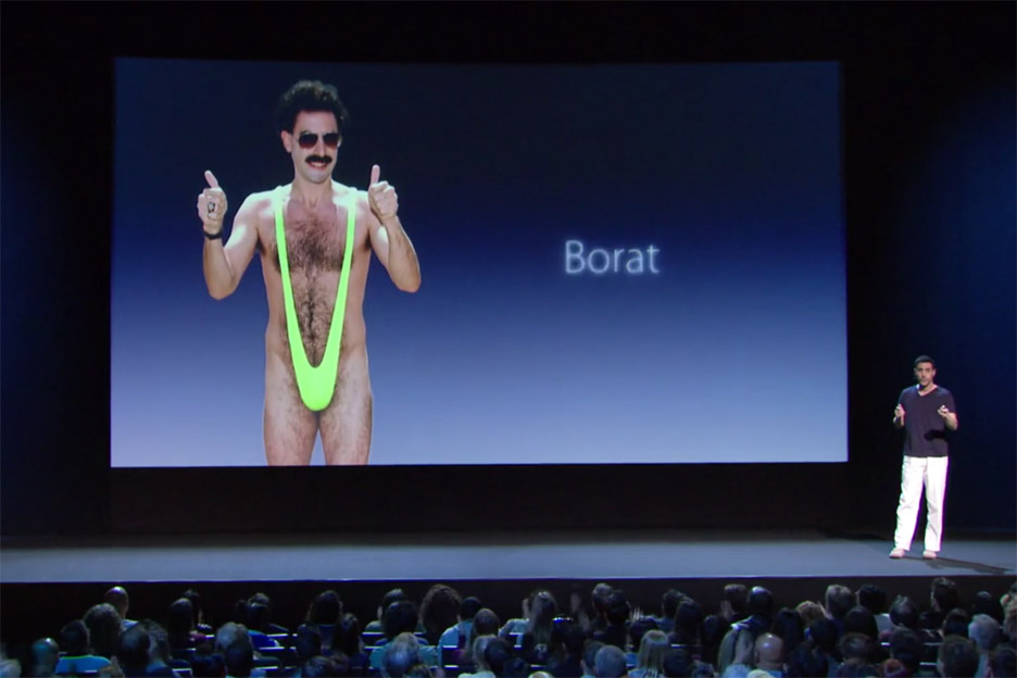 Sacha Baron Cohen spoofs Jonathan Ive's Apple presentations