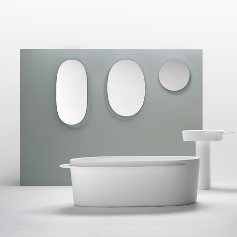 Sebastian Herkner designs Plateau range of oval-shaped bathroom products