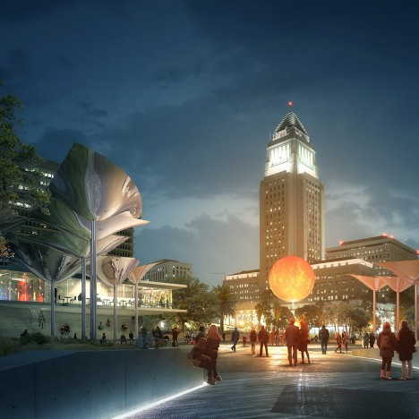 FAB Civic Center park proposal in Los Angeles, USA by Mia Lehrer, OMA and IDEO