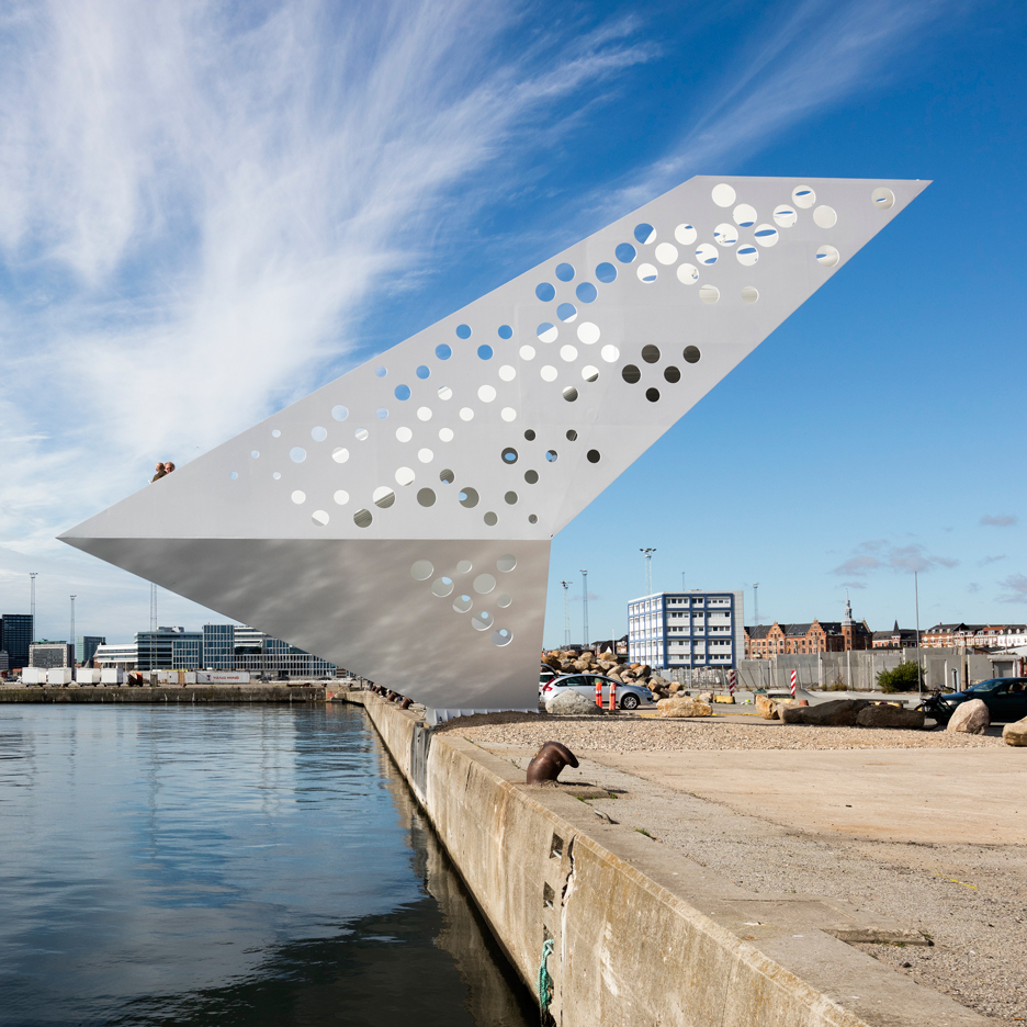 Dorte Mandrup Arkitekter installs perforated observation tower in Aarhus harbour