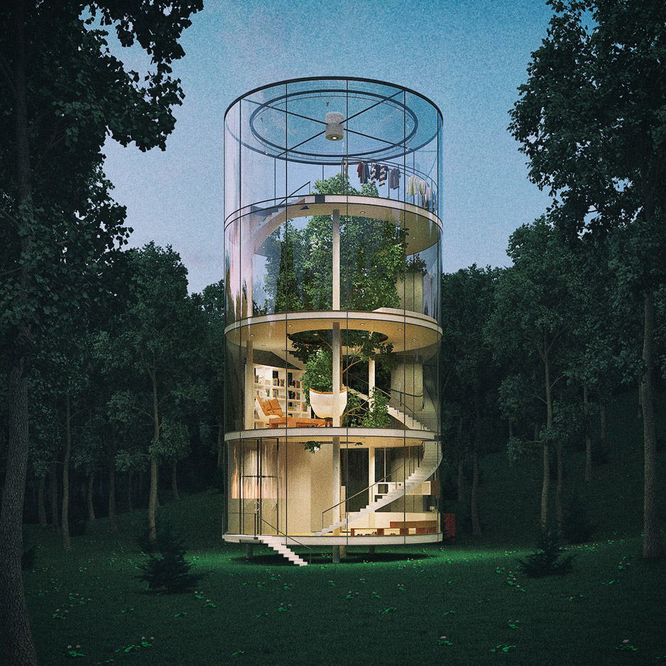 Tubular glass house by Aibek Almassov could be built around a full-grown tree