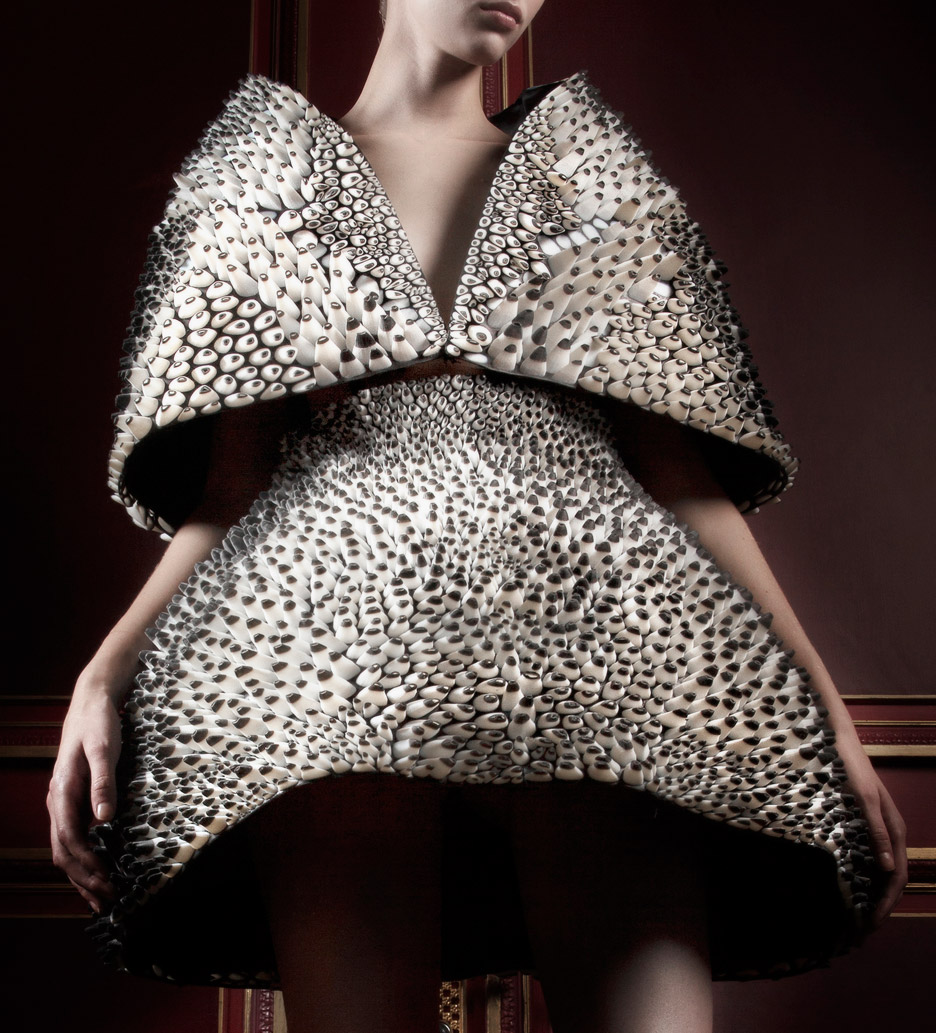 Anthozoa cape and skirt from the Voltage collection by Iris van Herpen and Neri Oxman, 2013. Printed by Stratasys