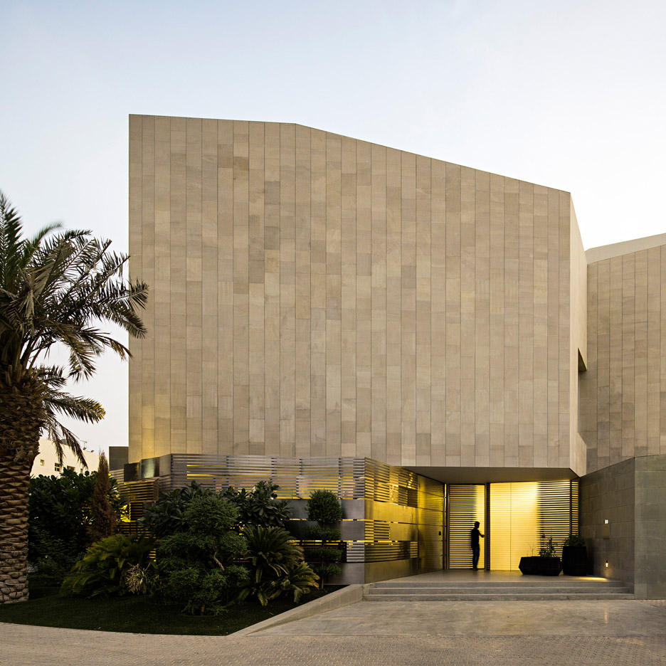 Agi architects completes kuwait house featuring four for Modern stone houses architecture