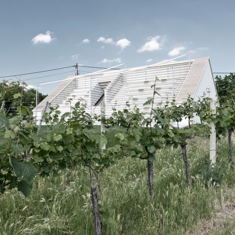 "March Gut creates ""landscape of seating"" on roof of vineyard wine tavern"