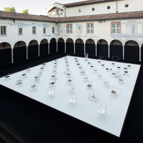 Nendo presents 50 Manga Chairs in Milanese cloister courtyard