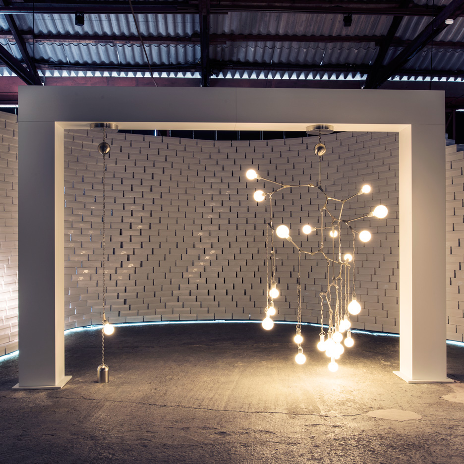 Lighting installation by Lindsey Adelman at Nike's The Nature of Motion exhibition in Milan