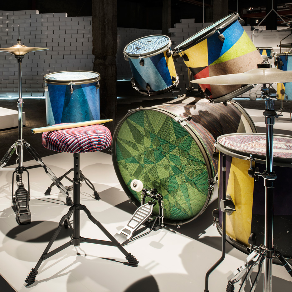 Martino Gamper creates drum kits for Nike with Flyknit skins