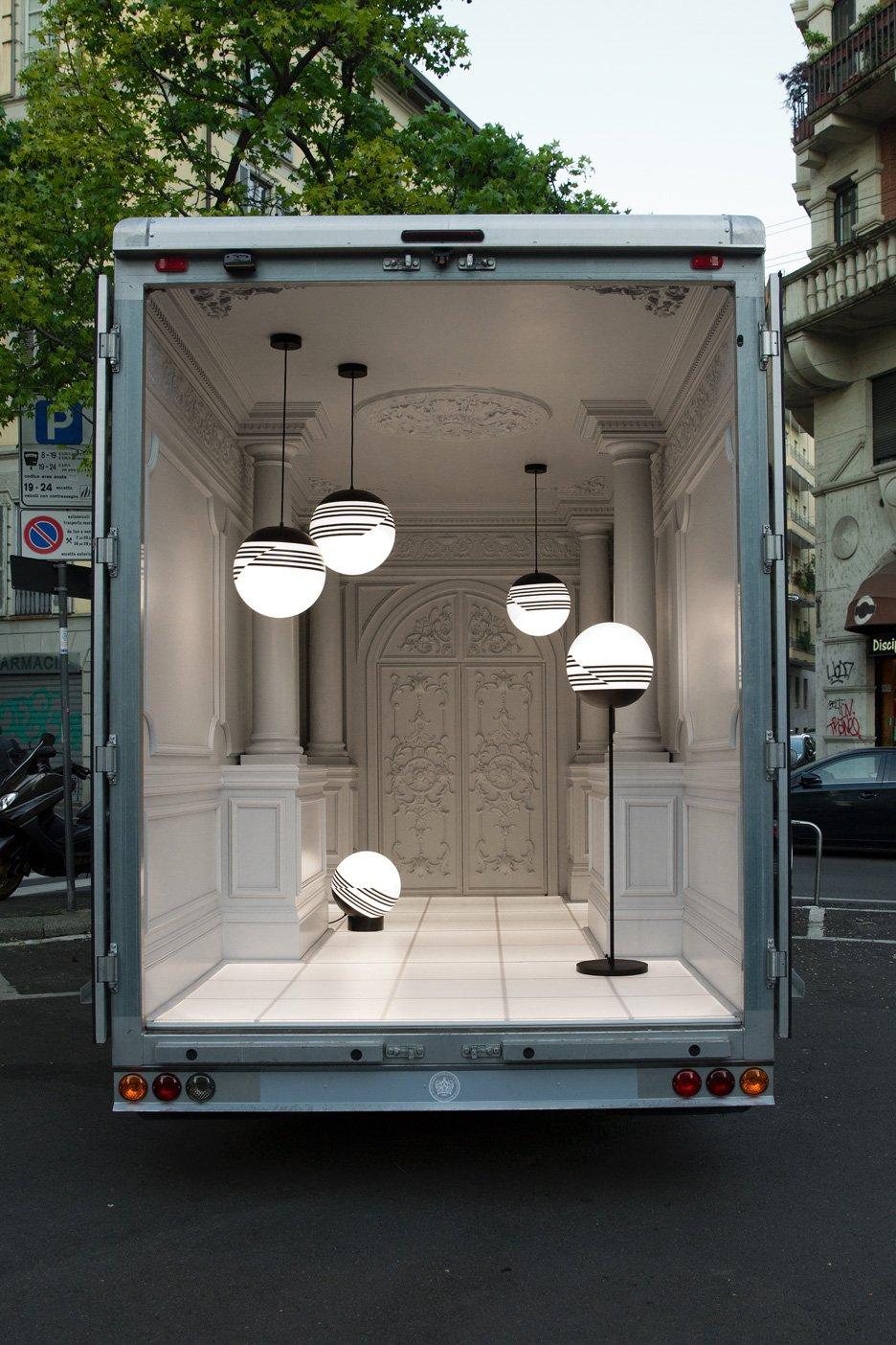 Lee Broom's Salone del Automobile delivery van arrives in Milan