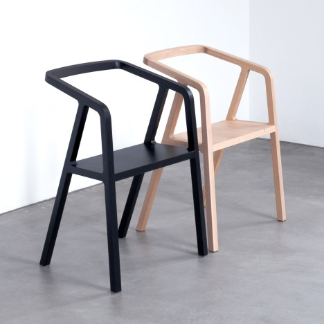 Thomas Feichtner's minimal A-Chair is made using traditional carpentry techniques