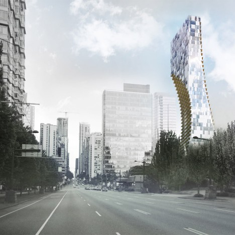 Kengo Kuma unveils plans for curved apartment tower in Vancouver