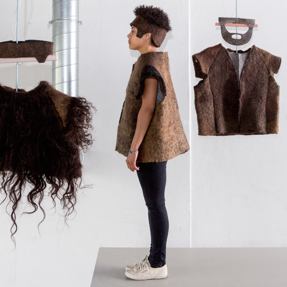Alix Bizet's Hair Matters project for Design Academy Eindhoven's Touch Base exhibition at Milan design week