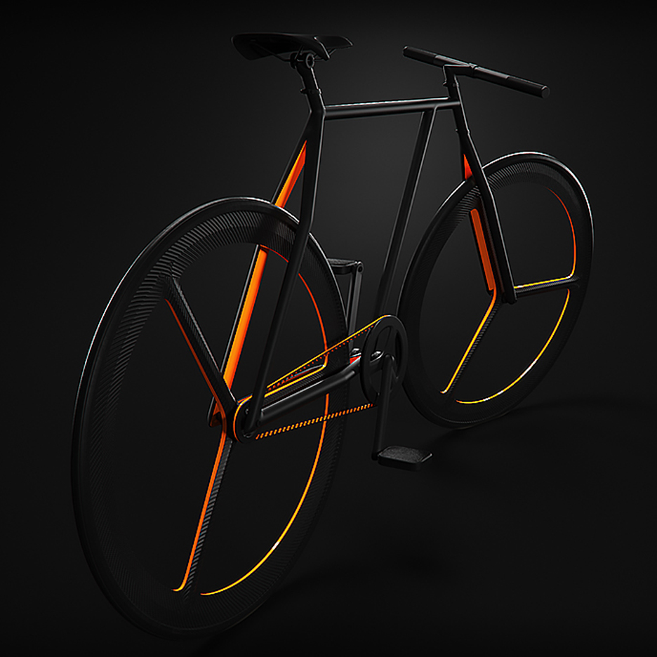 "Ion Lucin's Baik bicycle has vivid orange accents and ""as few lines as possible"""