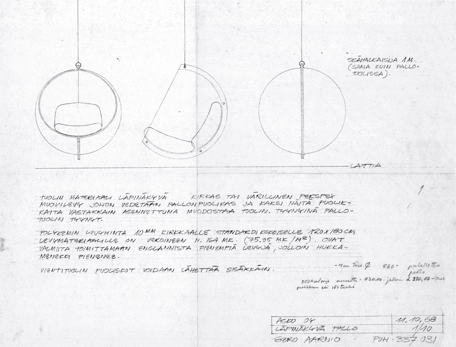 original drawing of the bubble chair