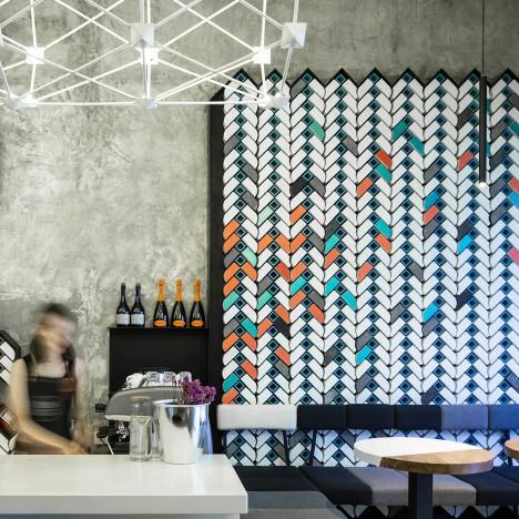 Studio Ramoprimo creates chevron-patterned brick walls inside Beijing wine bar