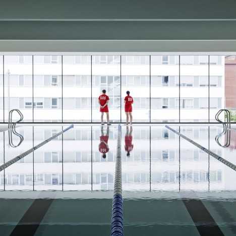 Recessed windows frame pools and courts in Salburúa Civic Center by IDOM