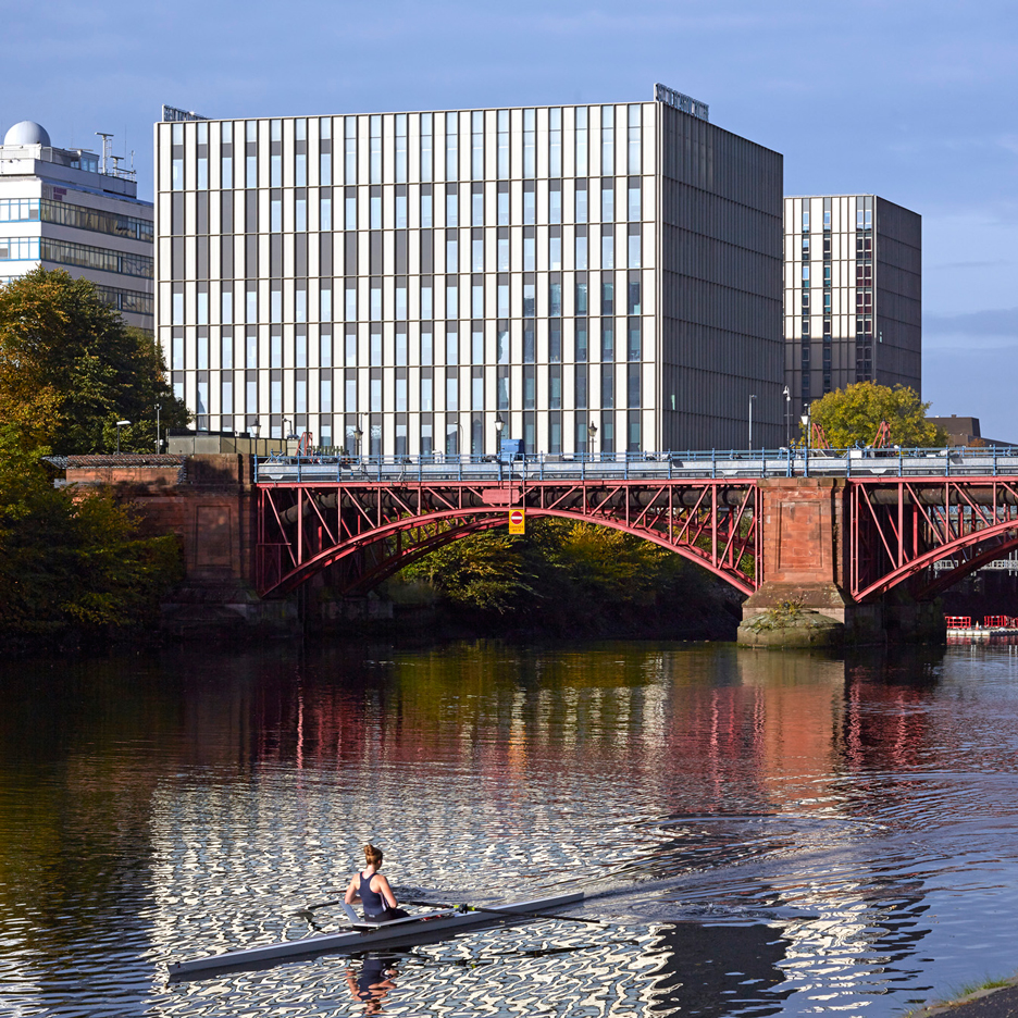 Glasgow's nautical and engineering college presents gridded glass facades to the River Clyde