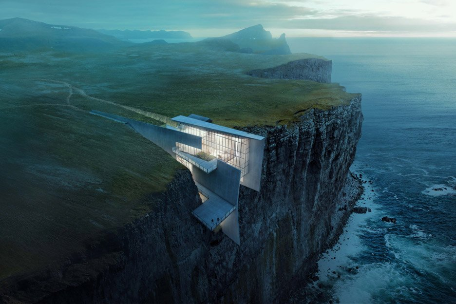 Cliff Top Retreat by Alex Hogrefe of Visualizing Architecture conceptual concrete architecture