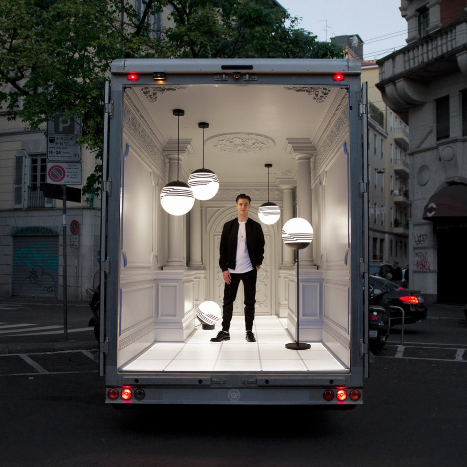 London designer Lee Broom also designs, manufactures and sells products under his own name. His exhibition for Milan design week 2016 was held in a travelling van