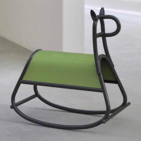 Front designs bent-wood rocking horse for Gebrüder Thonet Vienna