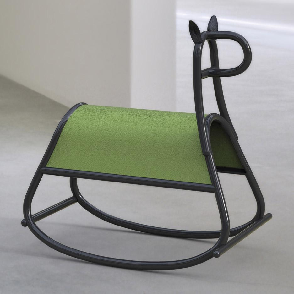 Front designs bent wood rocking horse for gebr der thonet for Walking chair design studio vienna