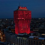 Ingo Maurer bathes Torre Velasca in red light for Audi's City Lab event