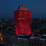 Ingo Maurer bathes Torre Velasca in red light for Audi's City Lab event