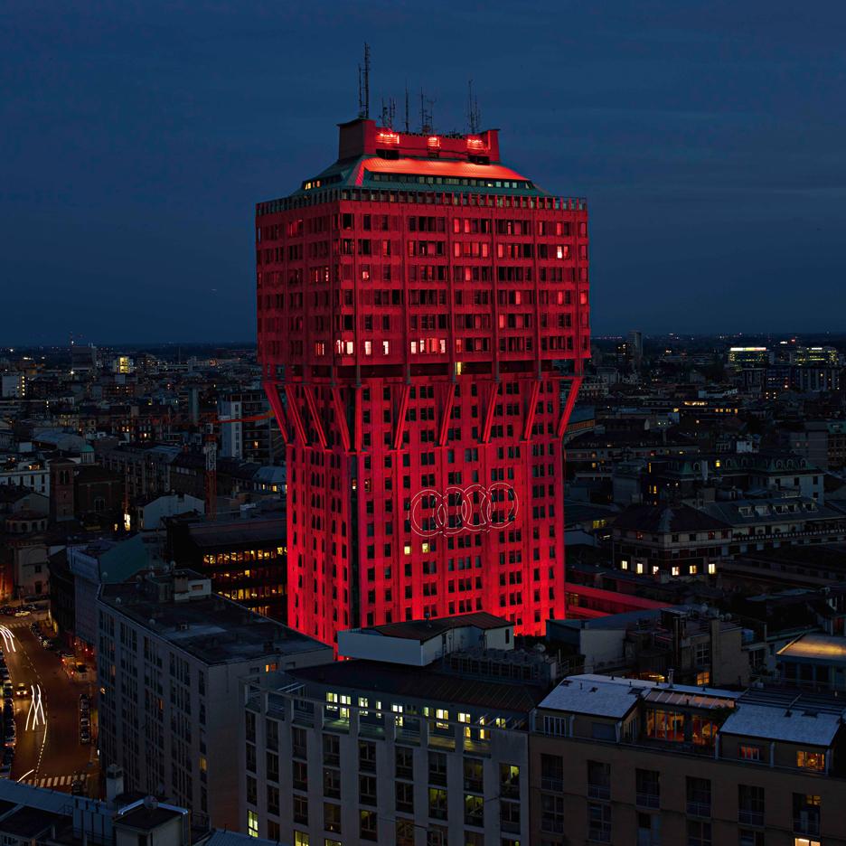 ingo maurer bathes torre velasca in red light for audi s city lab event sig nordal jr. Black Bedroom Furniture Sets. Home Design Ideas