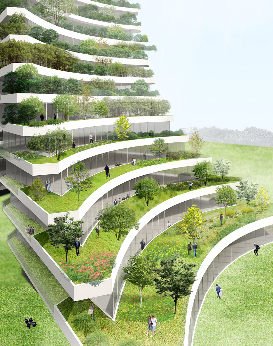 Vo Trong Nghia Architects plans leaning, plant-covered towers for Bac Ninh city hall
