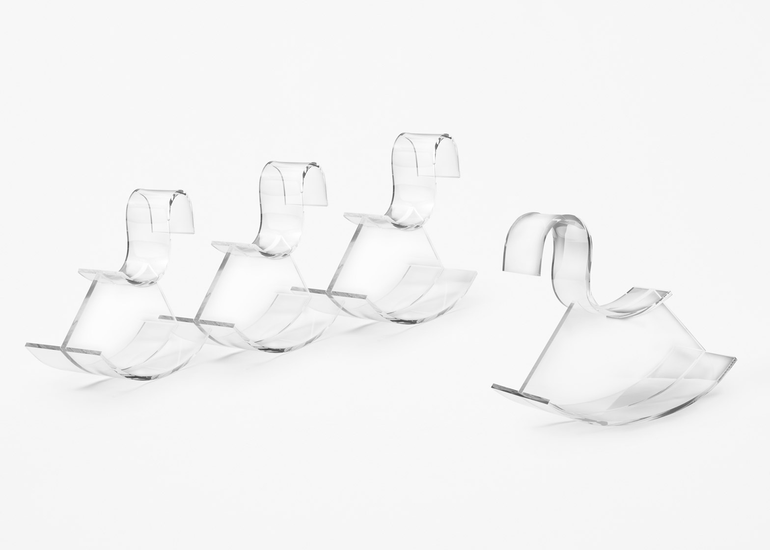 Nendo designs transparent rocking horse for Kartell