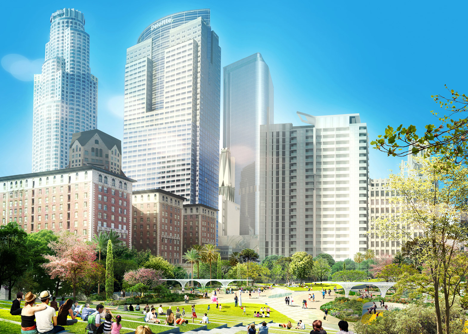 James Corner Field Operations and Fredrick Ficher and Partners Pershing square renovation proposal architecture news Los Angeles LA USA