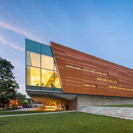 Gould Evans adds vibrant orange skin to Brutalist library in Kansas